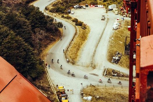 Aerial of Bikers