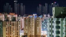 city, houses, night
