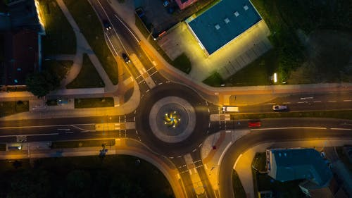 Free stock photo of aerial, cars, copter, crossing