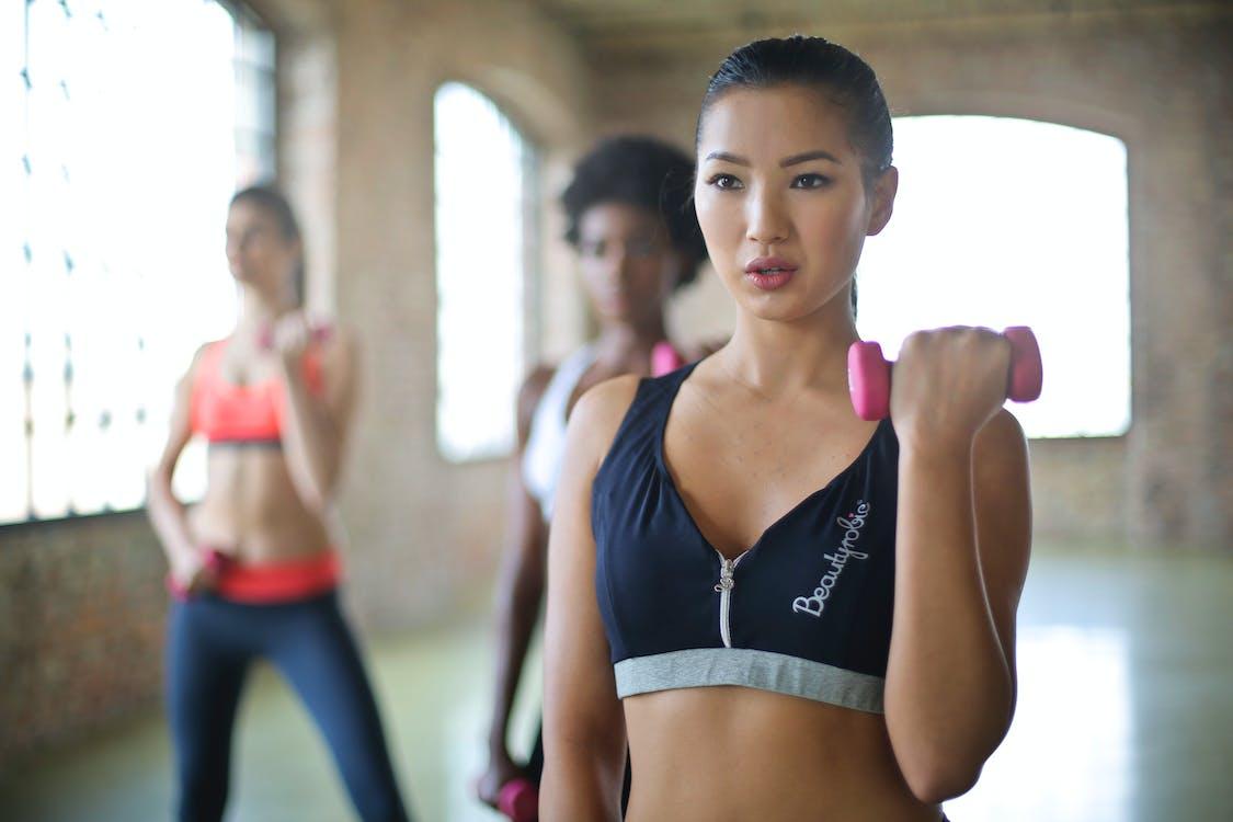 Woman Wearing Black and Gray Sport Bra