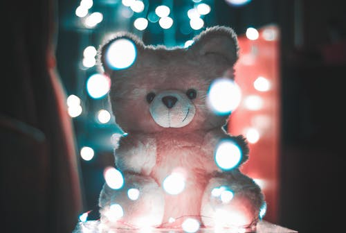 Bokeh Photography of Pink Bear Plush Toy