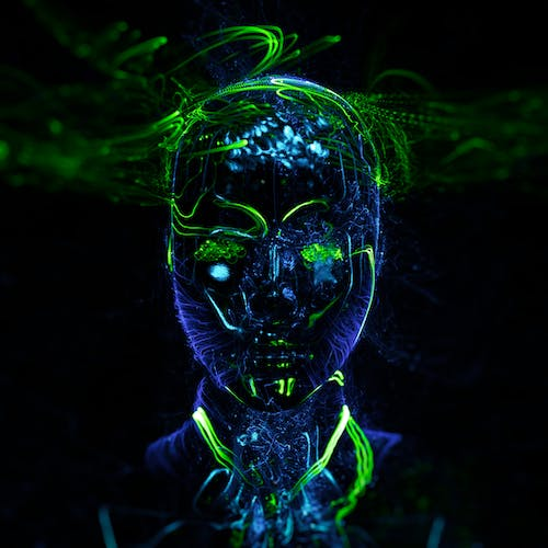 Green and Black Skull With Light