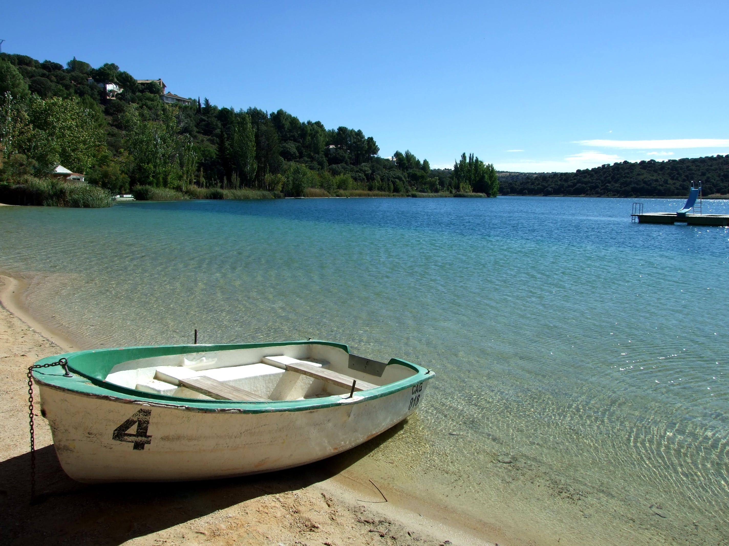 Free stock photo of sand, water, boat, trees