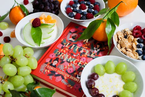 Fruits on Plates Beside Red Book