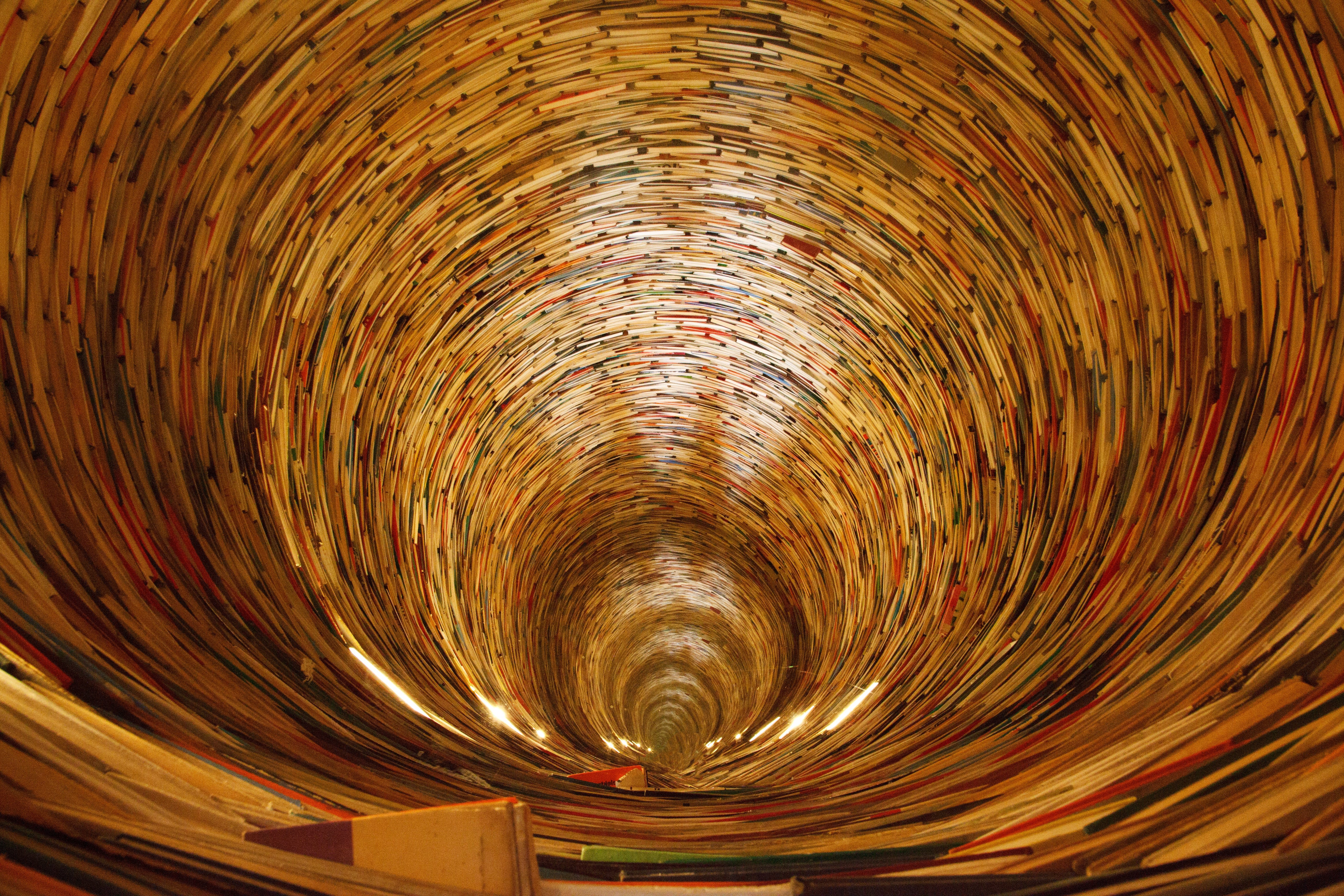 Free stock photo of books, tunnel, school, stack