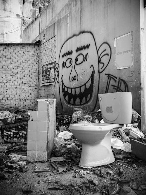 White Ceramic Toilet Bowl Beside White Plastic Trash Bin