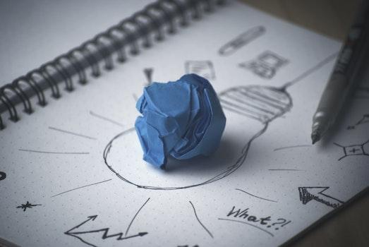 Free stock photo of idea, bulb, thinking, paper