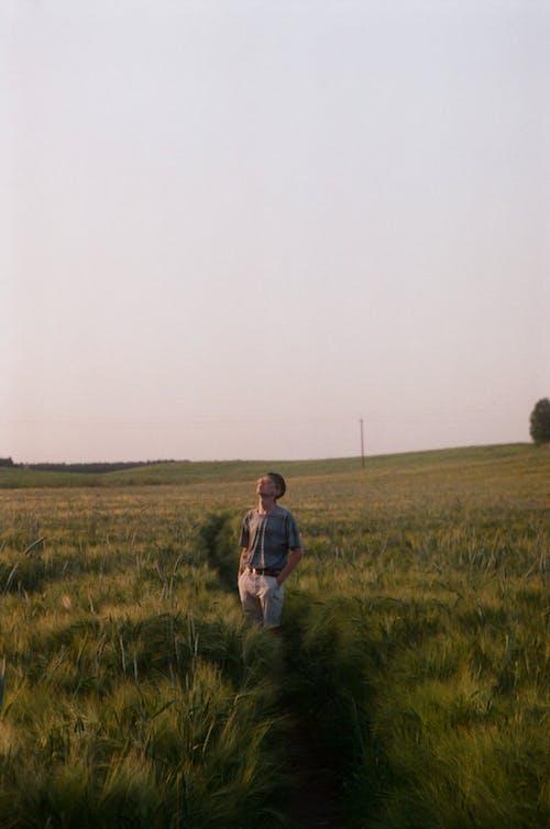 Woman in Gray Jacket Walking on Green Grass Field