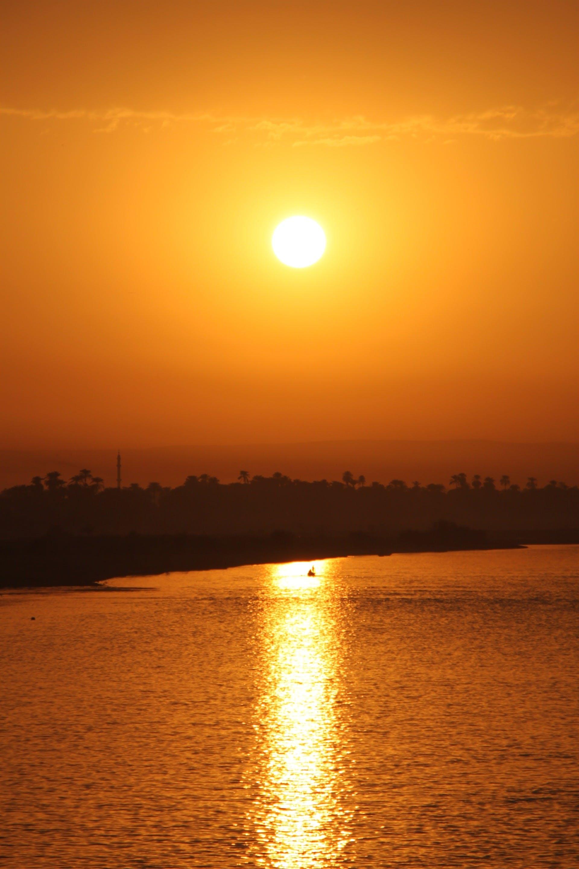Free stock photo of sunset, sun, river, egypt