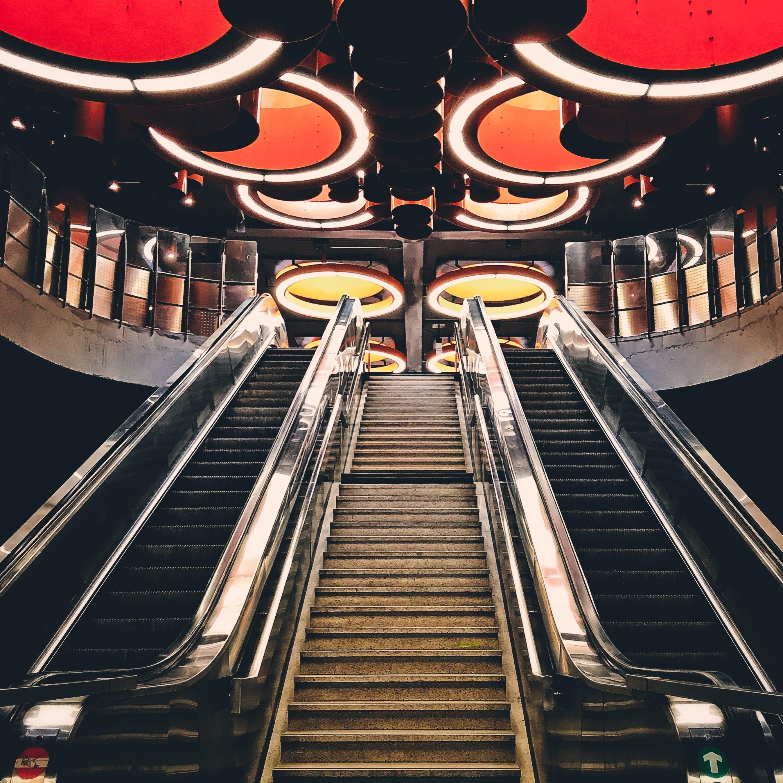 Gray Metal Escalator Stairway