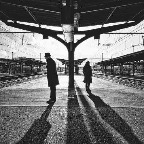Free stock photo of black and white, people, station, train