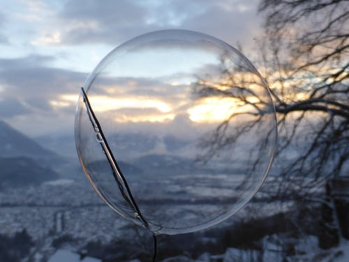 Free stock photo of evening sun, soap bubble, winter