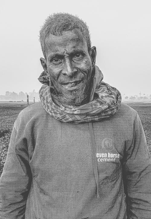 Free stock photo of asian old man, black and white, farmer