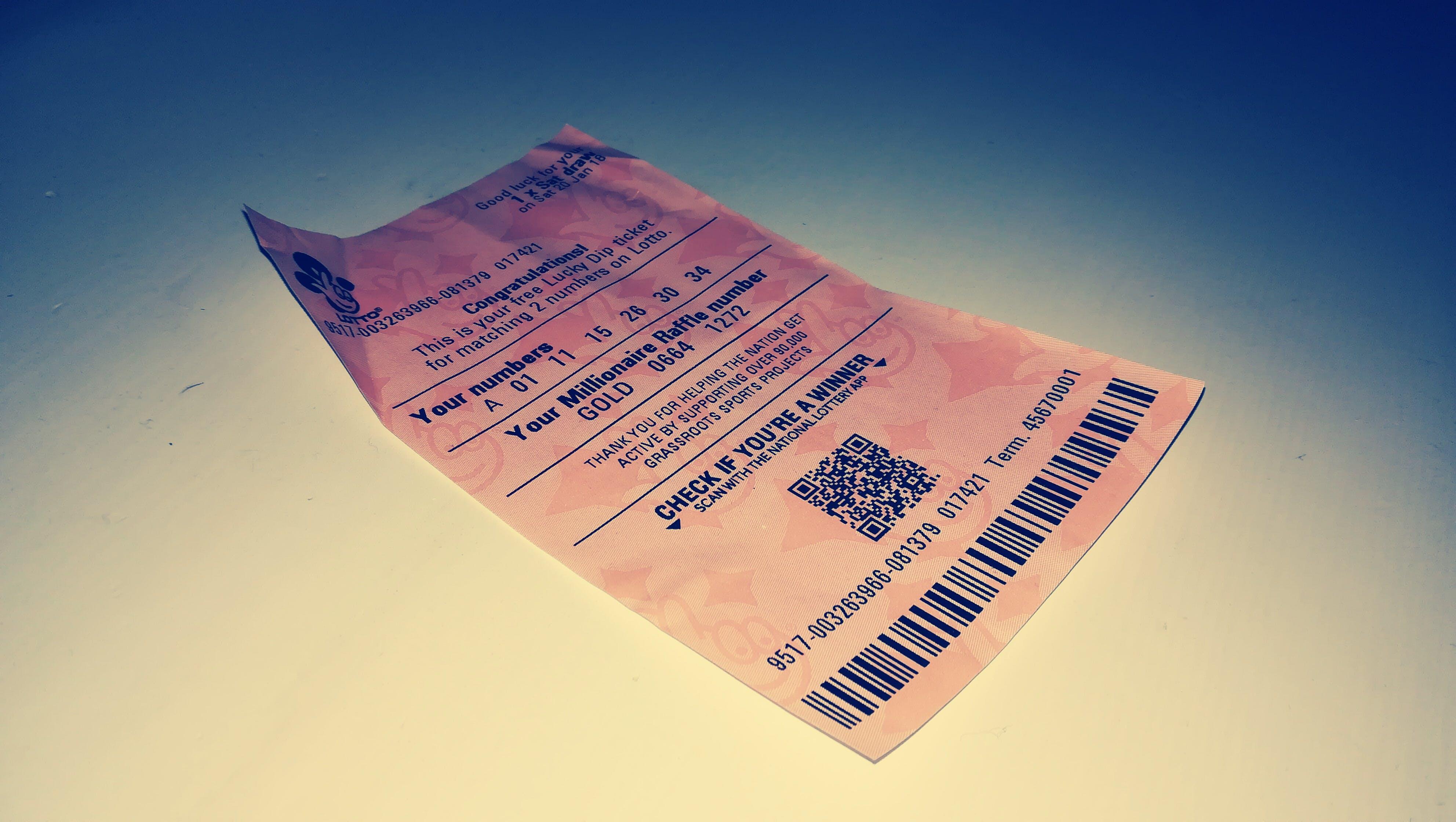 Free stock photo of Lottery ticket, lotto