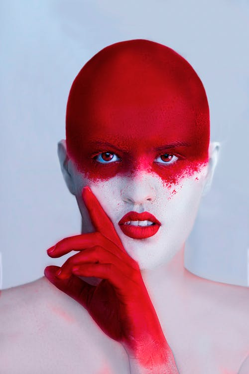 Woman With Red Face Paint