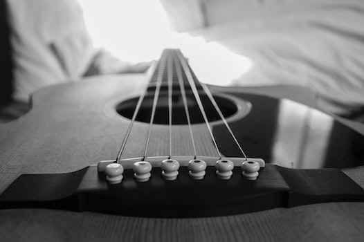 Wooden Acoustic Guitar Macro Photography in Grayscale Photo