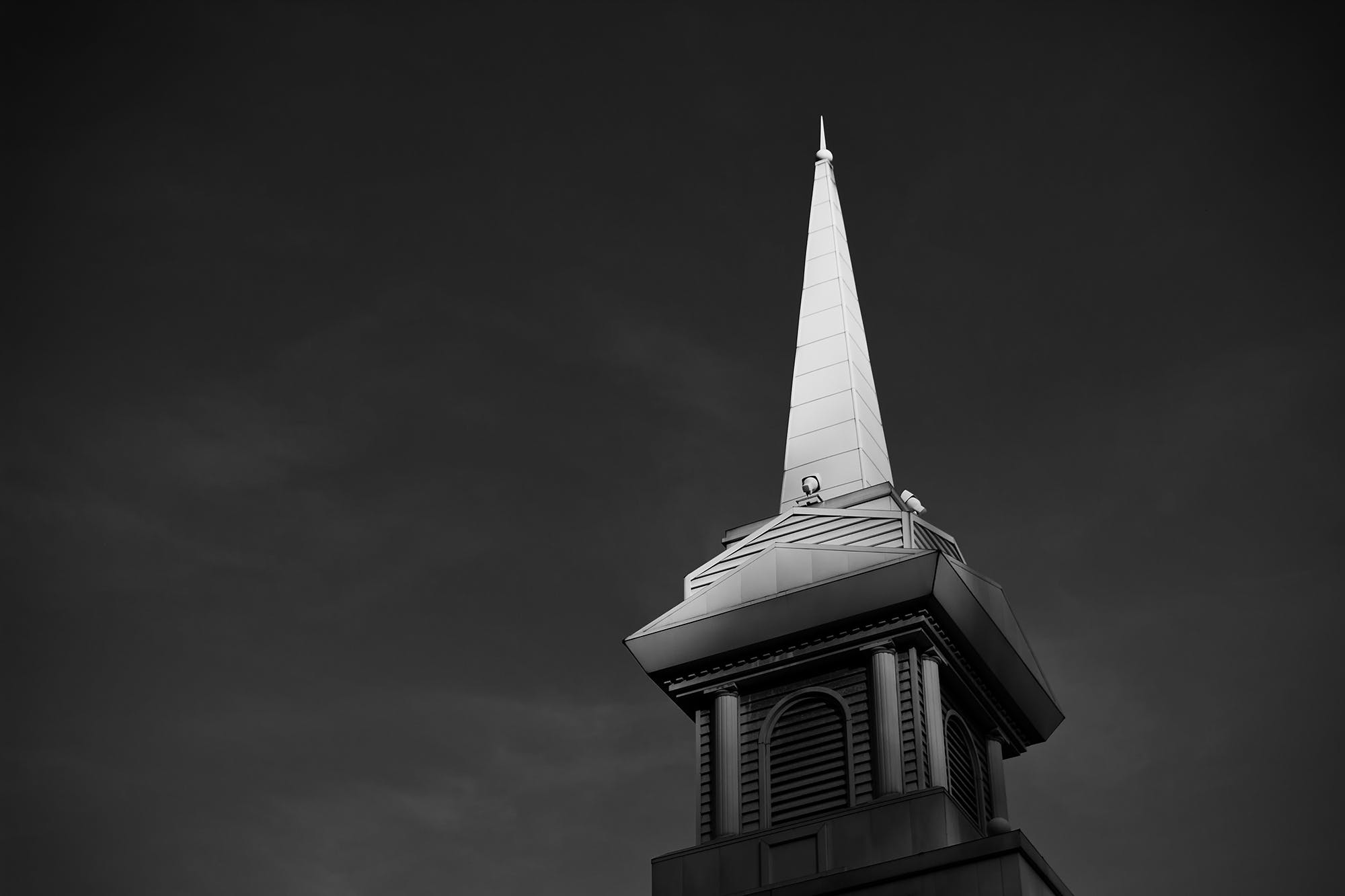 Grayscale Photo of Tower