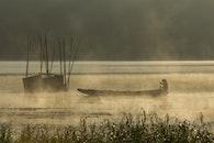 boat, sunrise, mist