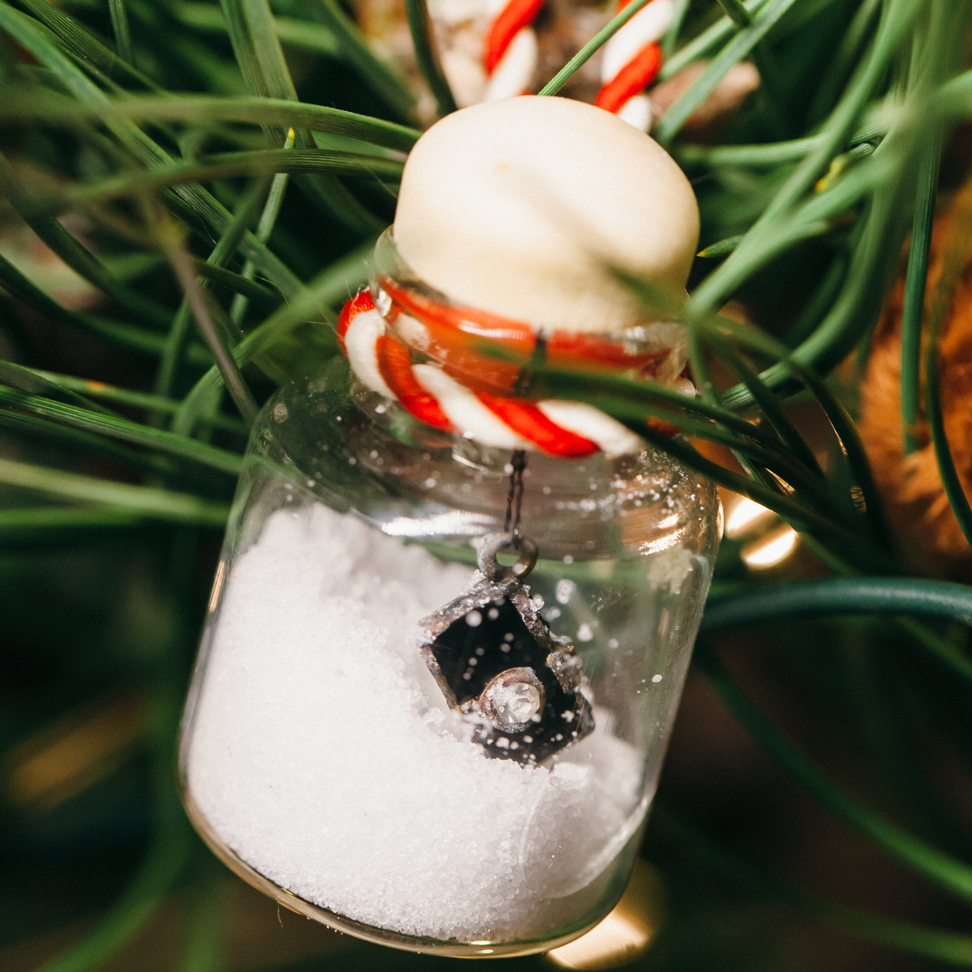 Half-filled Clear Glass Ornament With Miniature Camera