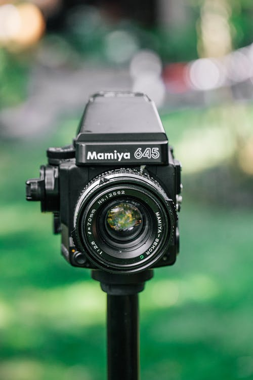 Shallow Focus Photo of Black Mamiya 645 Camera