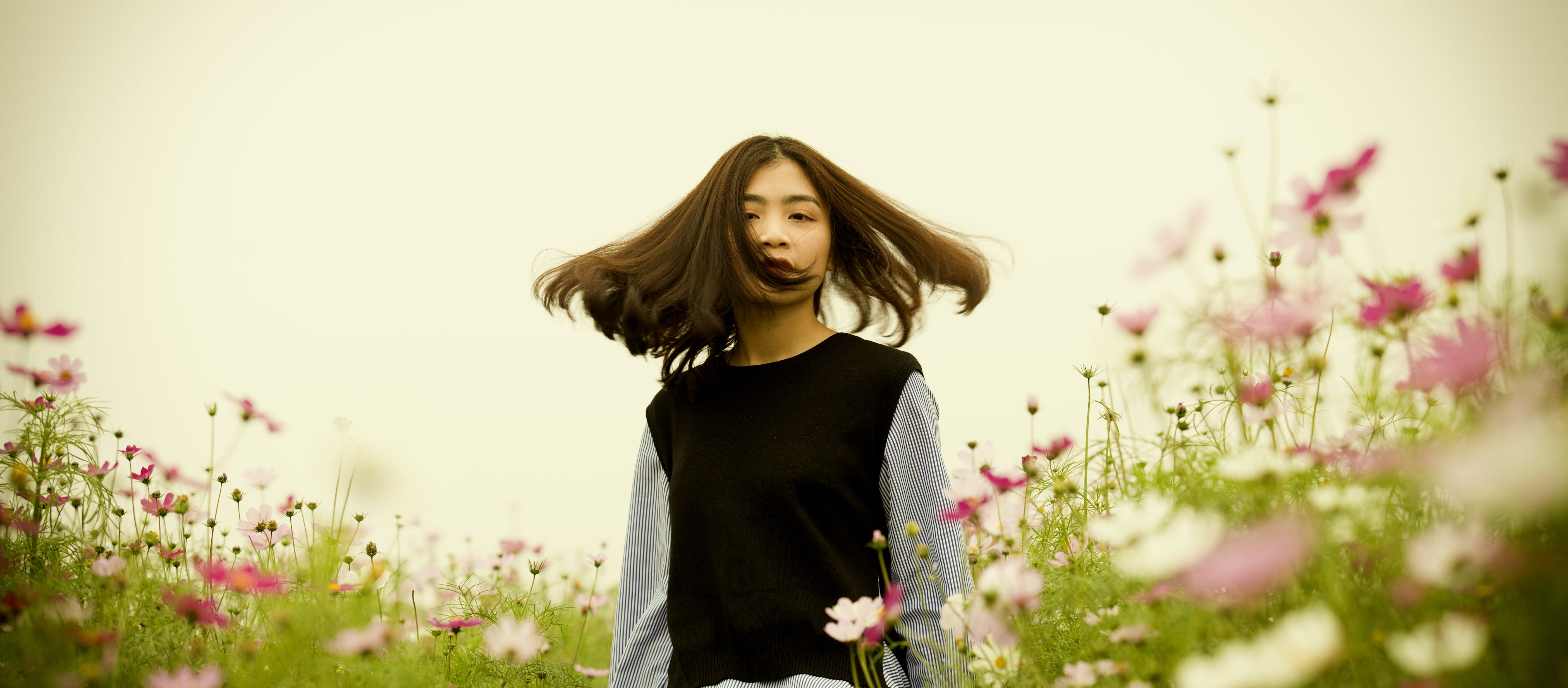 Girl on White and Pink Cosmos Flower Field Photography