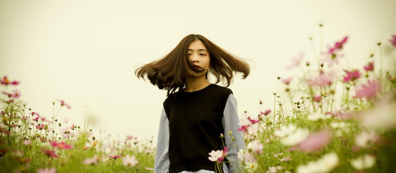 blommor, fält, flicka