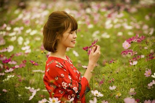 Kostnadsfri bild av blommor, fält, flicka, kronblad