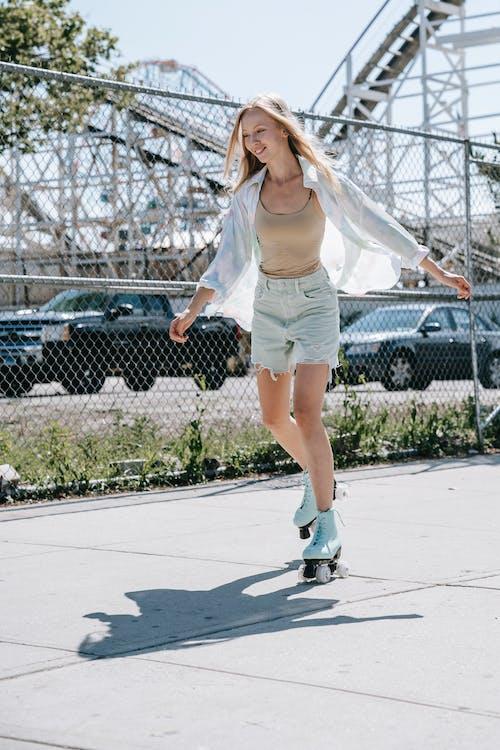 Beautiful Woman Roller Skating
