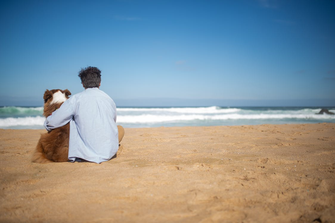 Man in White Shirt Sitting on Brown Sand Near Body of Water