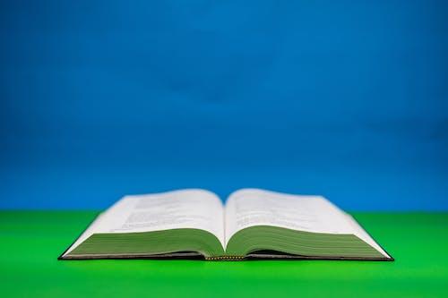 Close-Up Shot of an Open Bible on a Green Surface