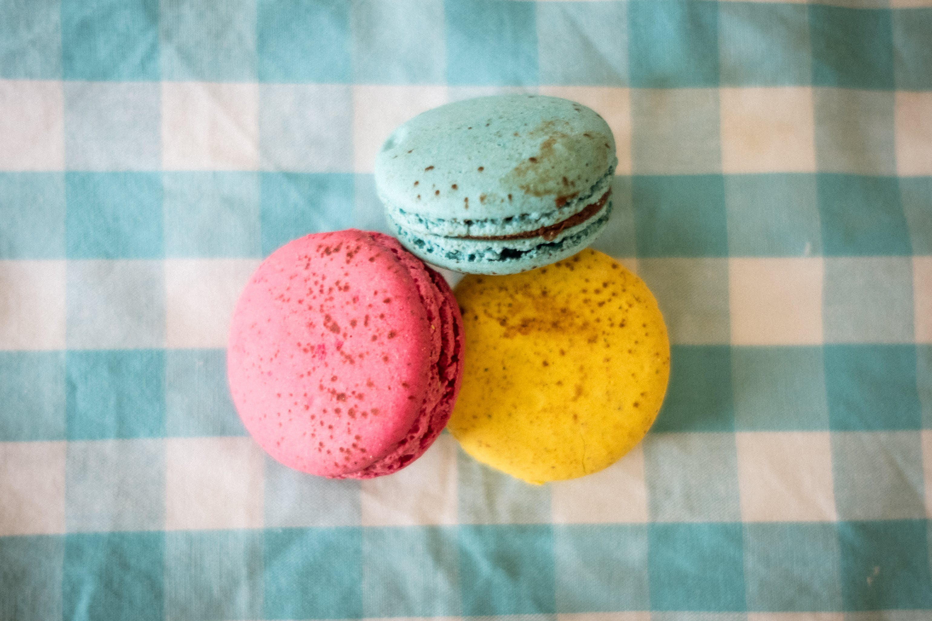Close-Up Photography of Three Macaroons