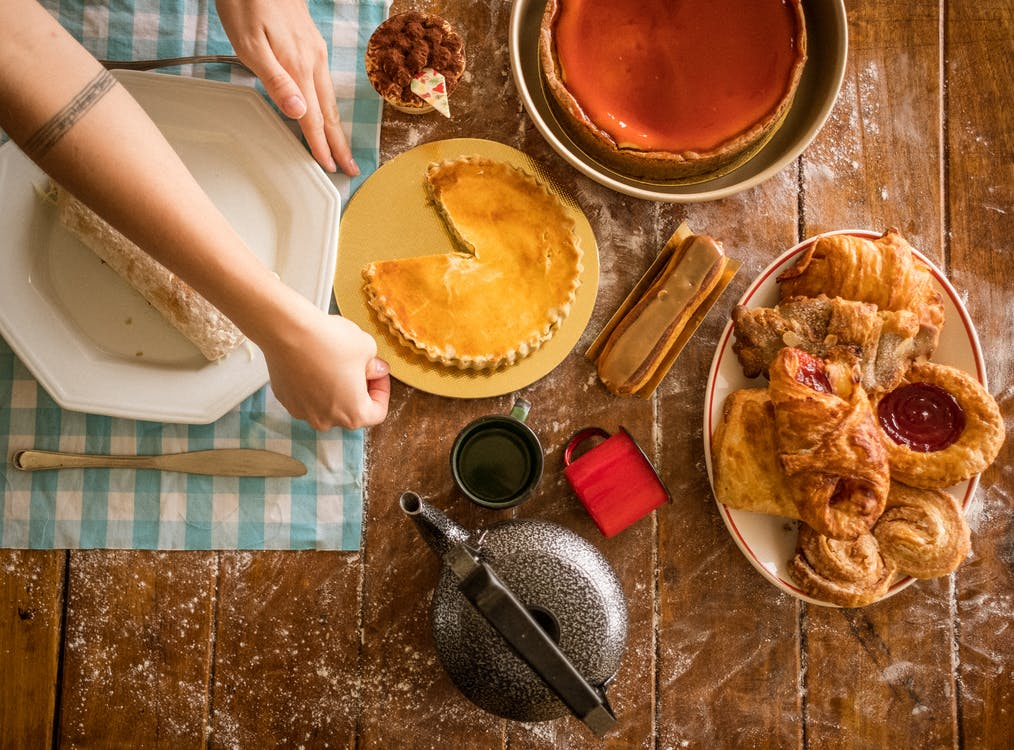 Baked Goods and Desserts on Wooden Surface