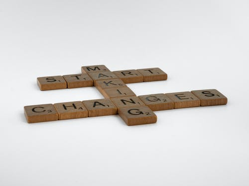 Close-Up Shot of Scrabble Tiles on a White Surface
