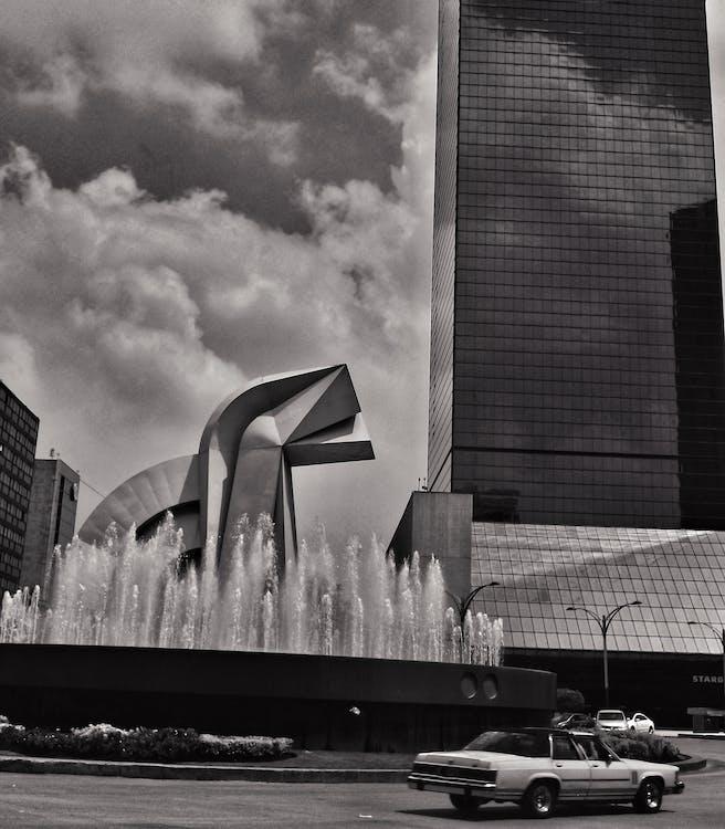 architektura, czarno-biały, dzień