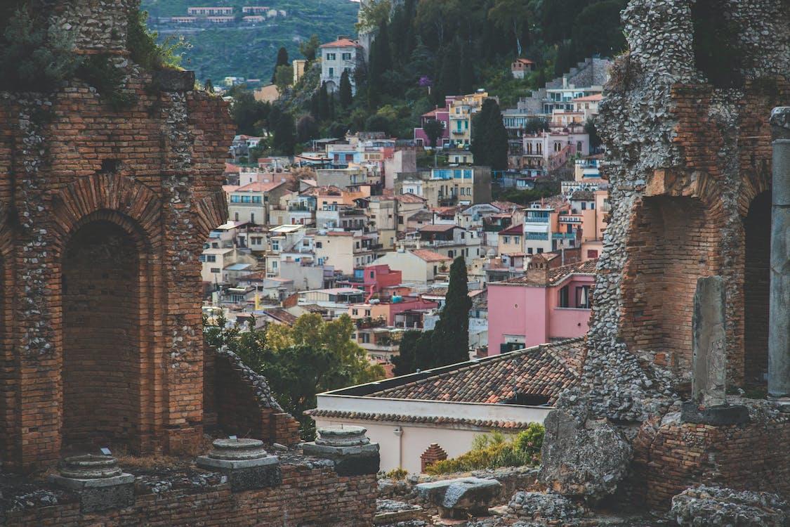 architettura, case, cittadina
