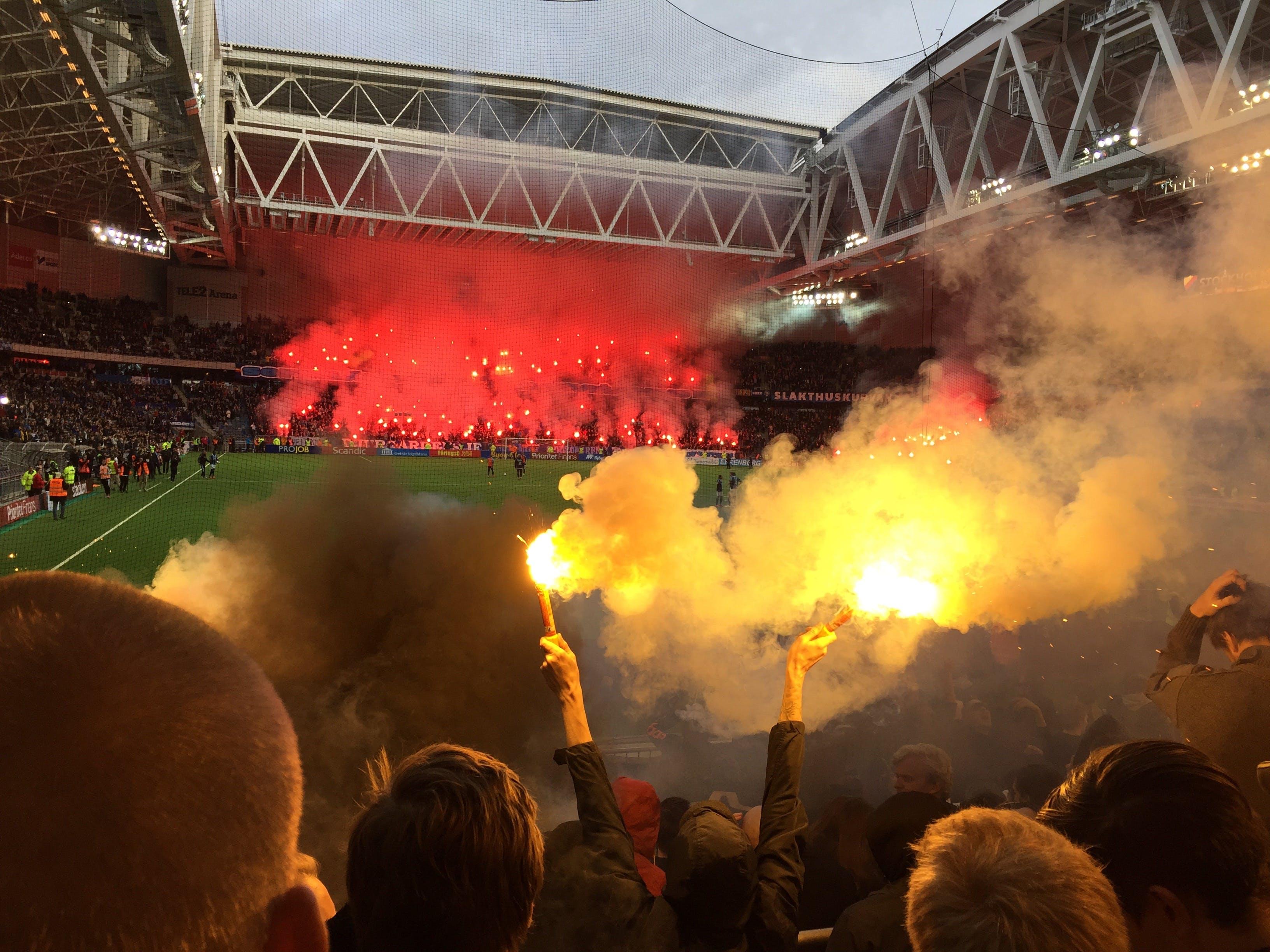 Free stock photo of football, game, pyrotechnic, pyrotechnics