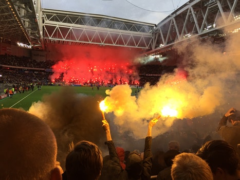 Free stock photo of yellow, game, football, pyrotechnic