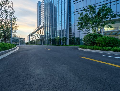 Free stock photo of glass building, road
