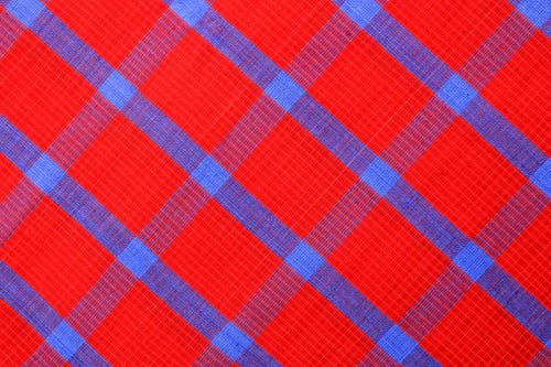 Red Blue and Purple Plaid Textile
