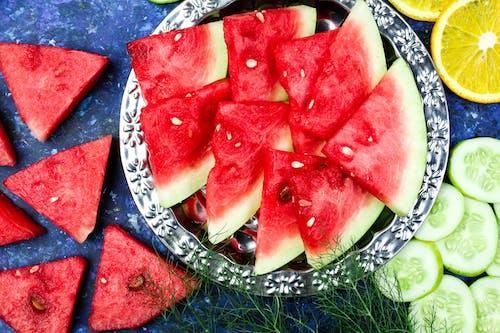 Sliced Watermelon on a Silver Bowl