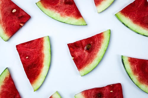 Sliced Watermelon over White Table
