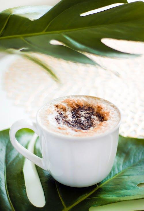 Δωρεάν στοκ φωτογραφιών με επίπεδη λευκό καφέ, καλοκαίρι, καπουτσίνο, καφές