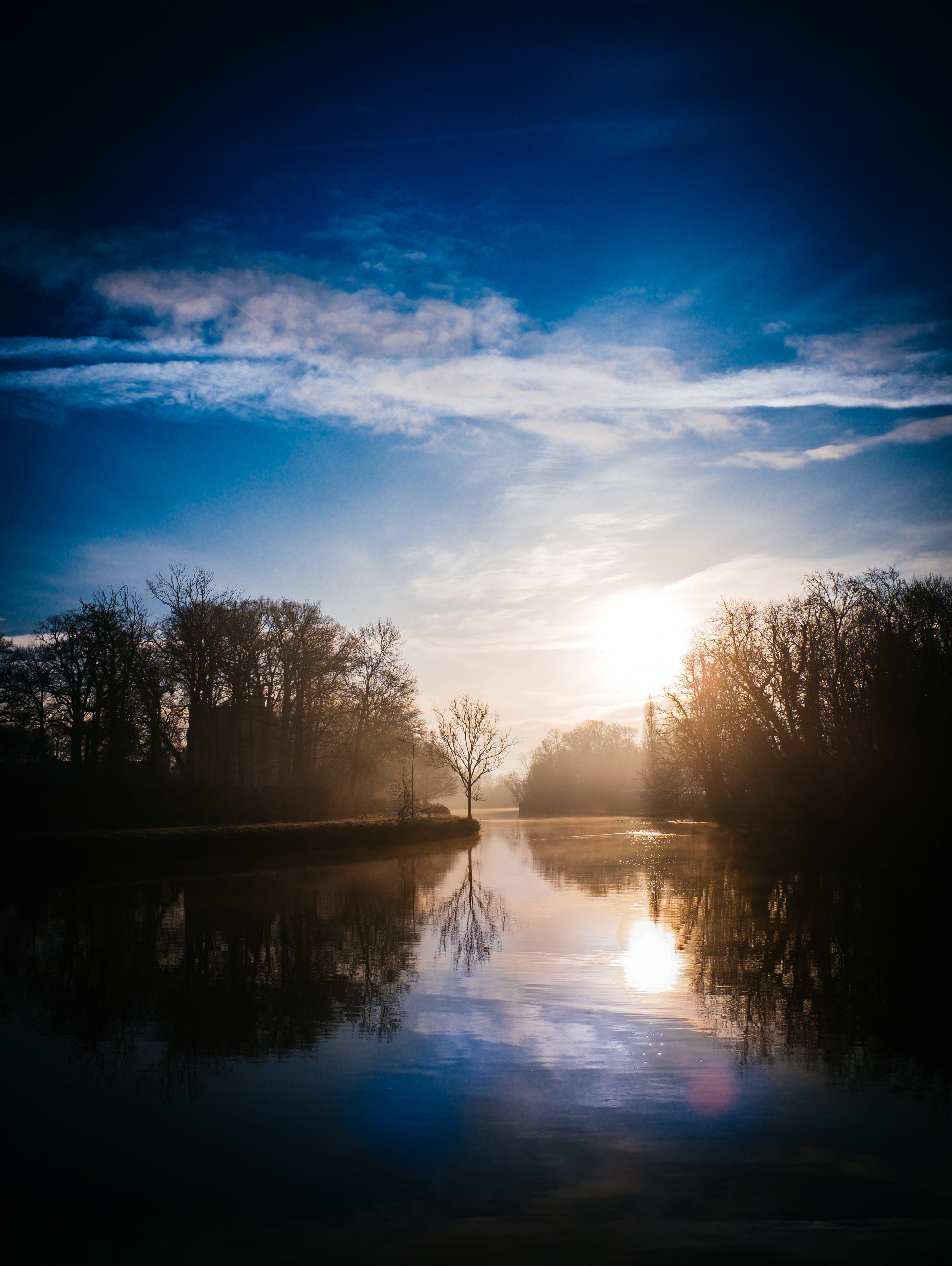 dawn, lake, sunrise