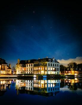 Free stock photo of sky, lights, night, village
