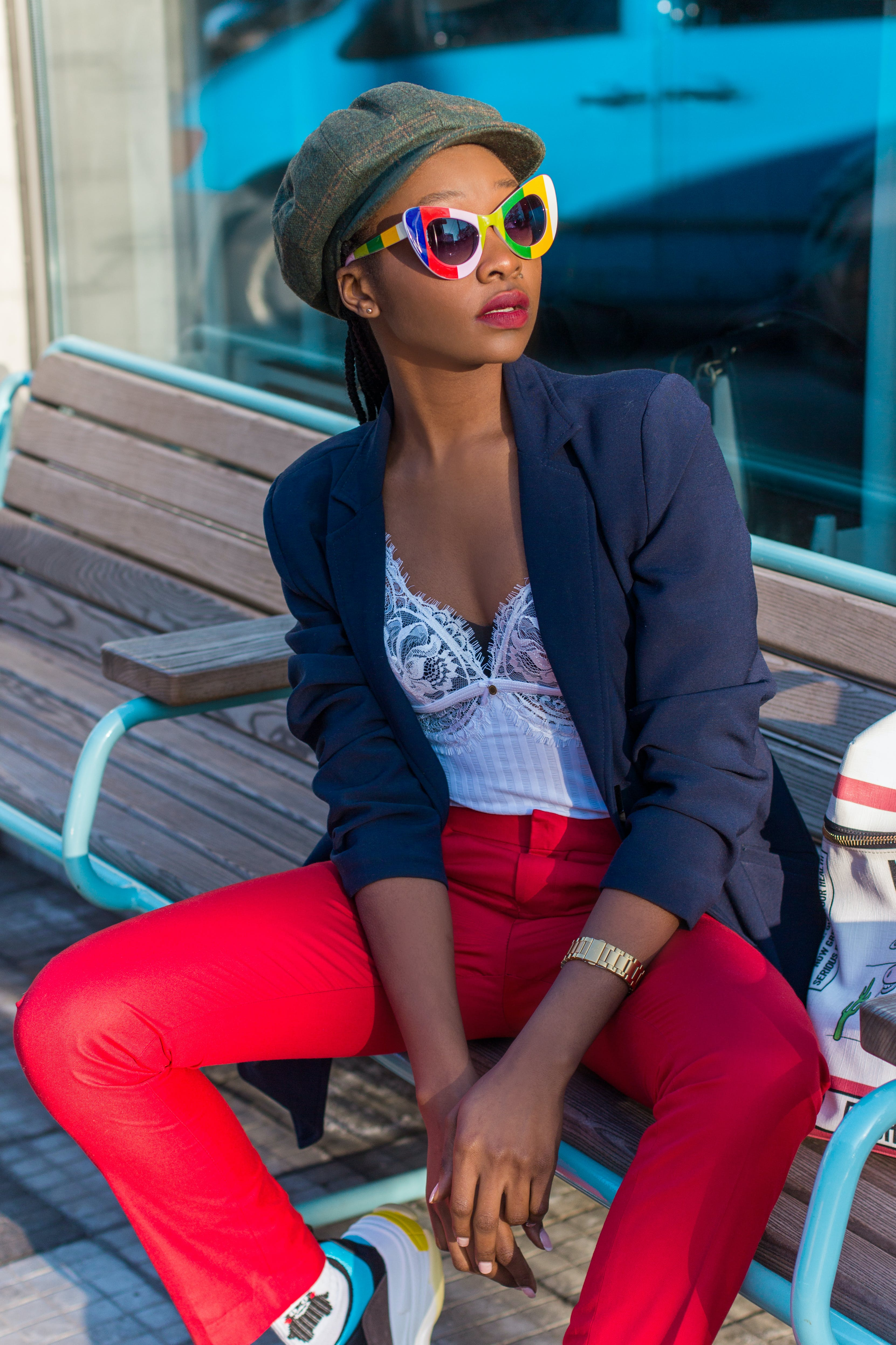 Free stock photo of sunny, red, sunglasses, sitting