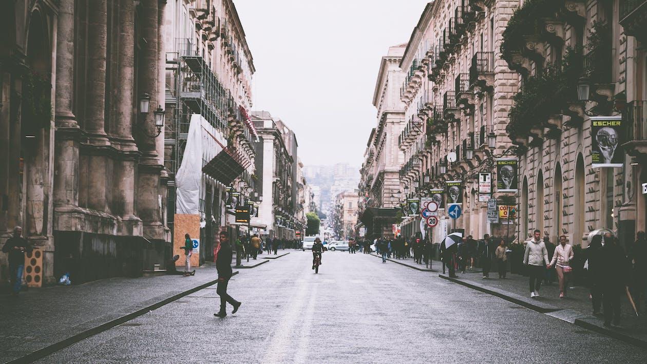 amontoado, andando, arquitetura