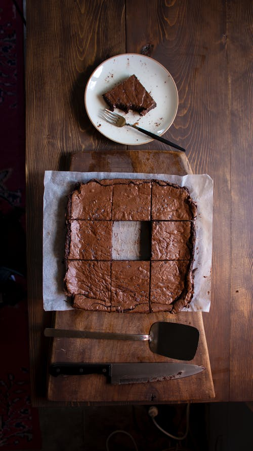 Sliced Chocolate Brownies on Wooden Table