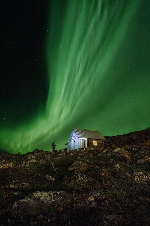 Scenic View of a House under Aurora Borealis