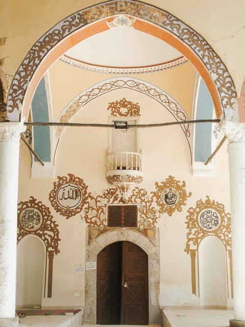Ornamental interior of old oriental building