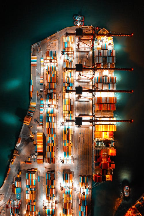 Aerial Shot of a Freighter with Cargo Containers